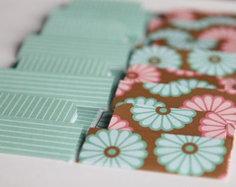 BUY 3 get 8 FREE- NEW - Mini Cards n Envelopes - Set of 8 - Pink, Teal Blue Mums Dahlias with Stripes Pattern