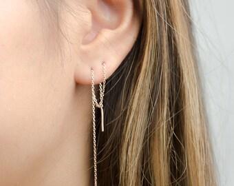Long Chain Earrings, Sterling Silver Threader Earrings, Delicate Chain Stick Earrings, Minimalist, Edgy Jewelry, Hand Made, Gift, EA023