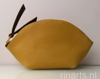 Zipper pouch / leather bag organizer / leather cosmetic bag WEDGE in mustard yellow leather. Personalized bag
