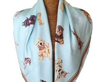 DOG SILK SCARF - Ice Blue + Pups
