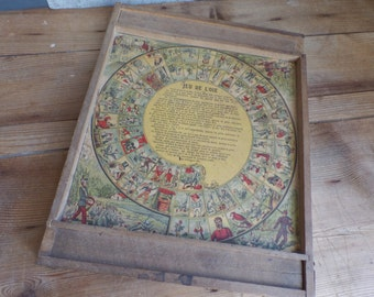 Old french wooden board game Jeu de L'oie - Goose's game - Pretty illustrations