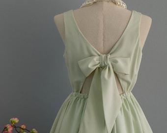 Pale green dress backless dress green party dress green prom dress green cocktail dress bow back dress mint green bridesmaid dresses
