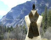 Women's Handmade Fall and Winter Scarf in Green and Gray - Midnight Whisper