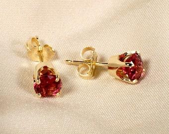 Genuine Rubellite Tourmaline Stud Earrings in 14K Gold