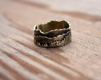 Adjustable Meadow Landscape Brass Ring Unisex Ring Nature Lover Gift Fall Style Woodland Style Landscape Jewelry Mountains Forest Landscape