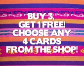 Buy 3 get 1 free cards - stationery - greeting cards - bogo - hand painted - illustration