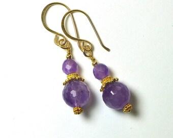 Amethyst Earrings, Amethyst Jewelry, Purple Amethyst, Purple Stone Earrings,  Birthstone Jewelry,  Gold Earrings, Semi Precious