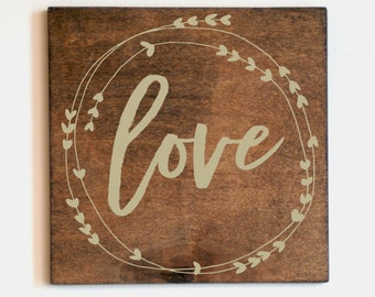 Love Wreath Wood Sign, Nursery Decor, Home Decor, Natural Wood Sign, Farmhouse Decor, Rustic Sign, Rustic Chic, Wooden Sign, Wedding Sign