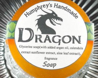 DRAGON soap, Glycerin Smoke Bonfire Beard Wash, Orange Men's Shave Soap, Round Soap Puck, Smokey Scent Shaving Lather Straight Razor