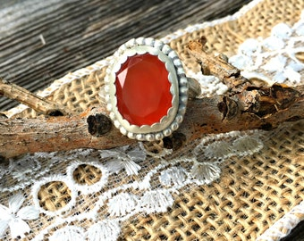 Grade A Rose Cut Carnelian Ring set in .925 Silver with fancy floral band. Beaded Carnelian statement ringstatement ring