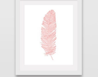 Feather Print Coral Feather Art Pink Feather Art Feather Wall Decor Pink Feather Print Feathers Nursery Room Beach Feather Picture Poster
