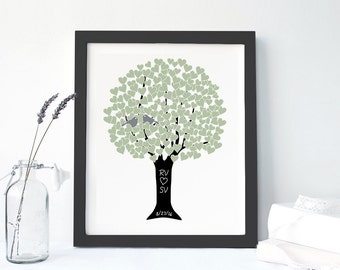 FRAMED CANVAS PRINT: Wedding Tree Love Birds Monogram Anniversary Gift for Engagement Couples Gift for Parents