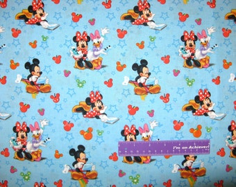 """Disney Mickey Mouse Playtime Minnie Daisy Video Game Cotton Fabric REMNANT 10"""" x 43"""""""