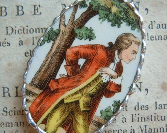 Fiona & The Fig-Vintage-Colonial Man-Oval Shaped Broken China-Soldered-Necklace-Pendant-Charm-Jewelry