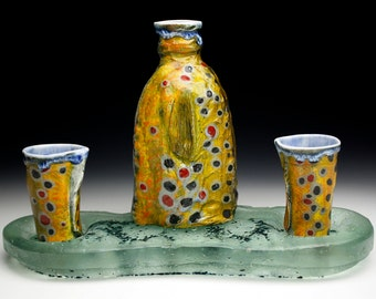 Brown Trout Porcelain Tokkuri With River Bed Cast Glass Full Sake Set  (Nature as Objects) One of a Kind