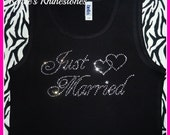 Rhinestone Just Married tank top SMLXL2X3X Available Bridal Party Tank top bachelorette party tshirt Bridesmaid