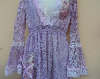 """20%OFFplusREFUND SHIPPING dusky lilac top..skinny in the arms and suit a small to 36"""" bust....."""