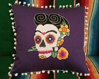 Day of the Dead Purple Frida Sugar Skull Pillow Embroidered Calavera