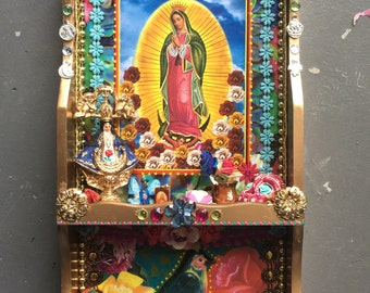 Upcycled Mexican art on wood shadowbox/ Mexican folk art / rainbow/ Virgin Mary Guadalupe / gold box