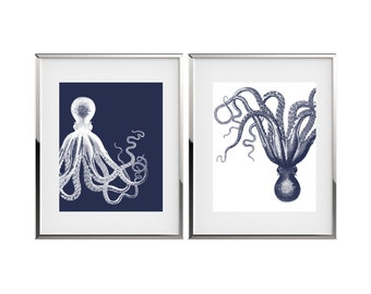 Octopus Art Nautical Decor Kraken Art Print Set Bathroom Decor Octopus Wall Art Marine Decor Coastal Wall Decor Nautical Nursery Decor