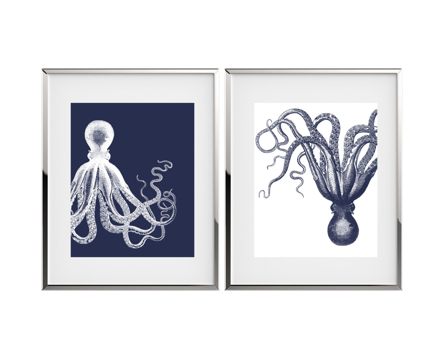 Octopus Art Nautical Decor Kraken Art Print Set Bathroom Decor