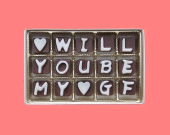 Will You Be My Girlfriend Cubic Chocolate Letters Valentnes Gift for Woman Unique Way to Ask Romantic Cute Unusual Gift for Her Love Message