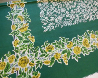 Gorgeous Greens Floral Tablecloth, 1950s Tablecloth By Simtex