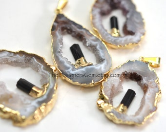 Black and White Geode Raw Druzy Pendant, Gold Dipped Geode with Black Toumaline