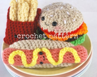 CROCHET PATTERN- Amigurumi Fast Food Trio-crochet cheeseburger pattern-crochet french fry pattern-hot dog pattern-amigurumi food pattern
