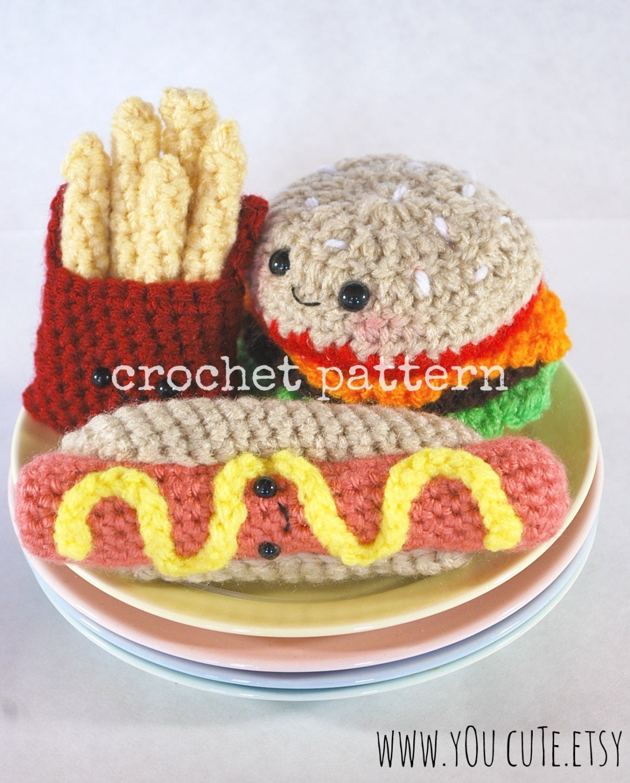 Amigurumi Hot Dog : CROCHET PATTERN- Amigurumi Fast Food Trio-crochet ...