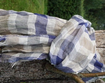 Romantic Linen Scarf  in summer beige and blue colors#linen scarf