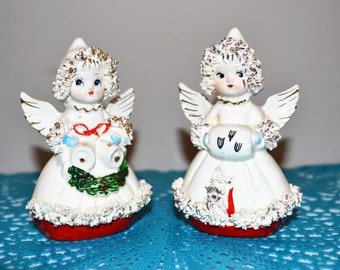 Vintage Christmas Angel Salt & Pepper Shakers 1950's