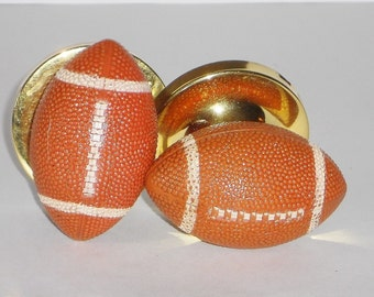 Football Door Knobs, Stationary Door Handles, Boy's Room Decor, Vintage