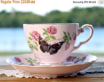 Royal Tuscan, Tea Cup, Cup and Saucer, June Glory, English Bone China, Pink Vintage Teacups 13127