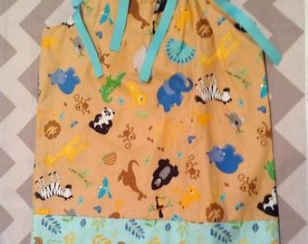 2T Ready to ship - Pillowcase Dress -Zoo safari jungle animals Tan and aqua