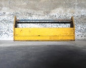 Store It.... Vintage Yellow Wood Tool Box, Wood Tool Caddy
