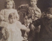 Group of Five Children Vintage Victorian Cabinet Card Studio Portrait