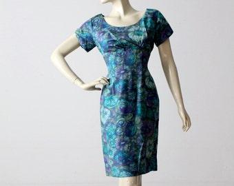 1950s watercolor print wiggle dress, vintage blue floral dress