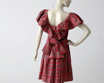 SALE 1960s plaid taffeta party dress, red plaid holiday dress