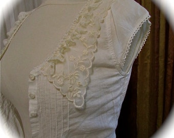 Shabby Lace Blouse, soft creme cotton with romantic laces, altered couture clothing, embroidery stitched hem, extra small Junior Petite