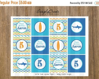 SALE Surf Party Beach Party Cupcake Toppers DIGITAL File 8.5x11 JPEG File Personalized