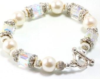 Swarovski Crystal and Pearl Bracelet, AB Crystal Cubes, Bridal Bracelet, June Pearl Birthstone, Wedding Bracelet