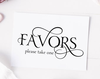 Favors, Please Take One, Party Decoration, Wedding Reception Favor Table Sign - Size 5 x 7 (YAN-SIGN)