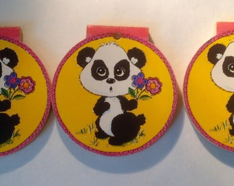 Vintage set of 3 black and white panda with flower round note pads 1970s