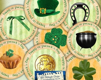 St Patricks Day circles Digital collage sheet Irish labels - Stickers - Cake toppers Magnets Bottlecaps Cabochons Gift tags Paper crafts