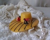 Vintage Bakelite Hat Brooch Marbled Butterscotch 1930s HUGE Brooch Rare Hat Bakelite Pin Jewelry
