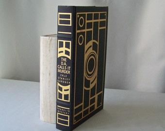 Vintage The DA Calls It Murder Franklin Library Mystery Masterpieces Erle Stanley Gardner Hardcover Book 1989