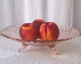 Vintage Pink Depression Glass Footed Bowl Fruit Bowl Swirl Pattern Kitchen Serving Bowl Vintage 1940s