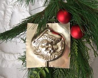Vintage Santa Chocolate Mold Candy Mold Santa Clause Face Hanging Christmas Ornament Holiday Decor 1970s