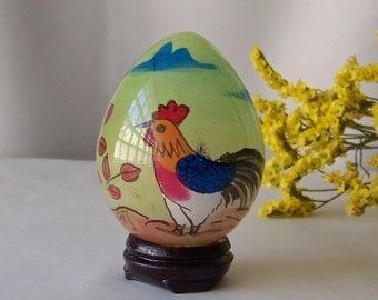 Vintage Glass Egg Églomisé Hand Painted Chick Easter Egg Gift Oriental Art Vintage 1980s